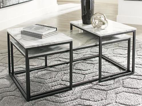 Donnesta - Gray/Black 3 pc table set