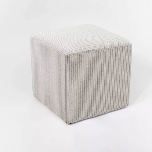 Lynwood Square Upholstered Cube Tan Striped