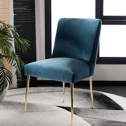 Nolita Velvet Dining Chair, Aegean Blue