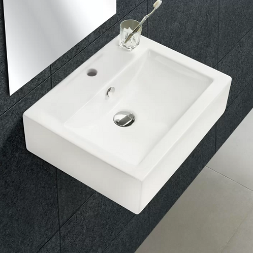 "Ceramic 20"" Wall-Mount Bathroom Sink with Overflow"