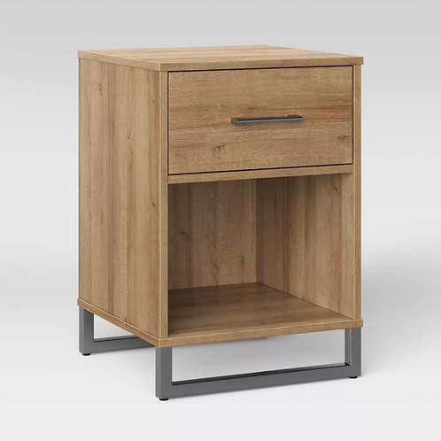 Mixed Material Nightstand Natural