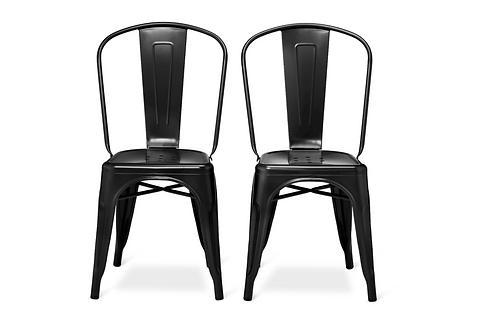 Set of 2 Carlisle High Back Metal Dining Chair Black