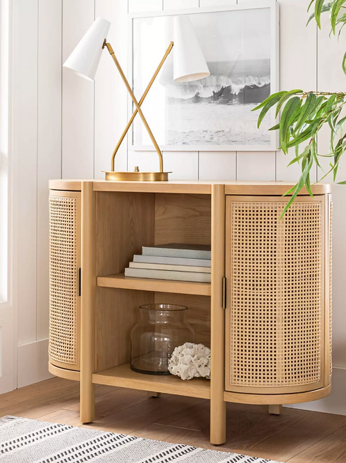 Portola Hills Caned Door Console with Shelves Natural