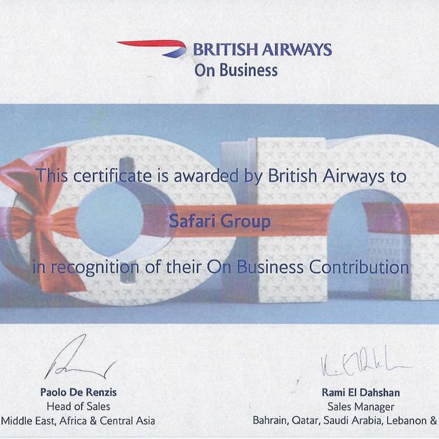 British Airways Certificate 2019