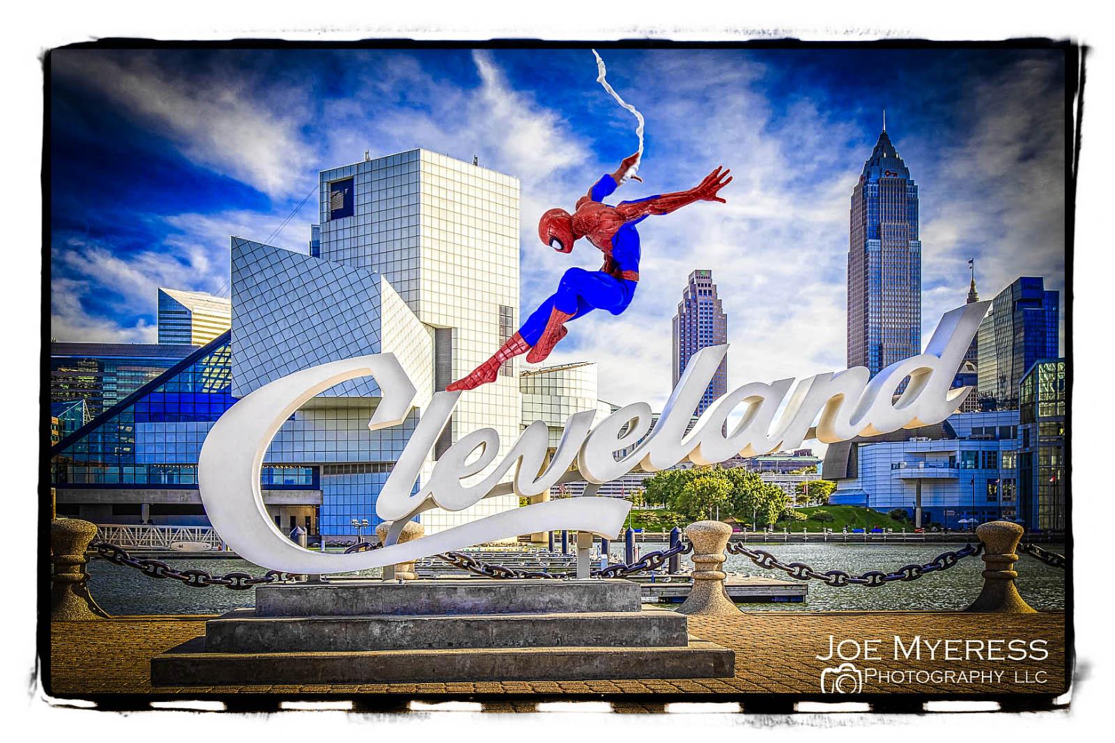 Spider Man visits Cleveland