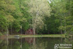 Barn on lake