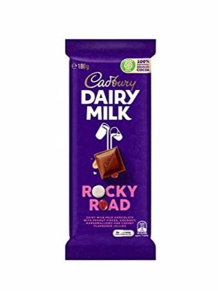 Cadbury Dairy Milk Rocky Road 180g Chocolate Bar.
