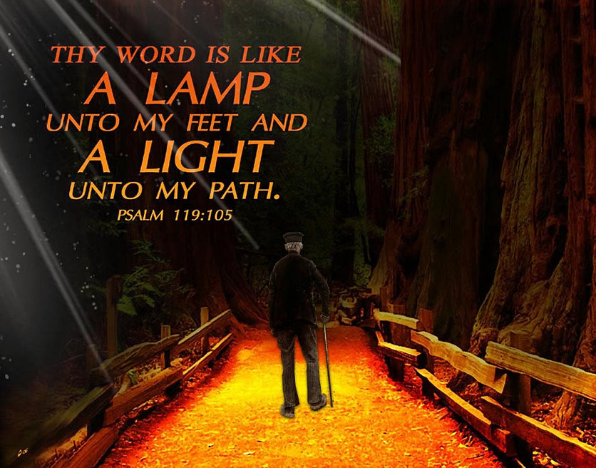 Thy word is a lamp unto my feel. Old man with walking stick walking on golden lit ground