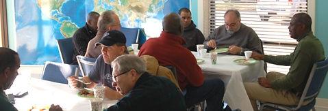 GO Church men having a discussion at a Men's Breakfast