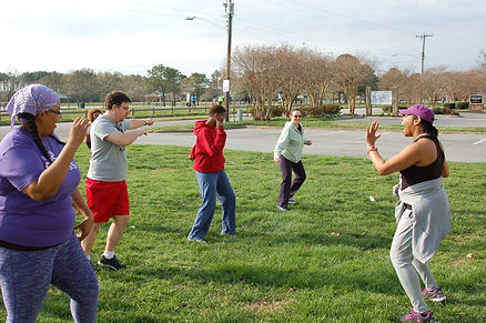 Excercisers move to the left in teh GO FIT HOur class on Saturday mornings at GO Church, 333 Edwin Drive, Virginia Beach