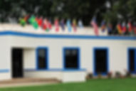 Go Church building with flags of the nations