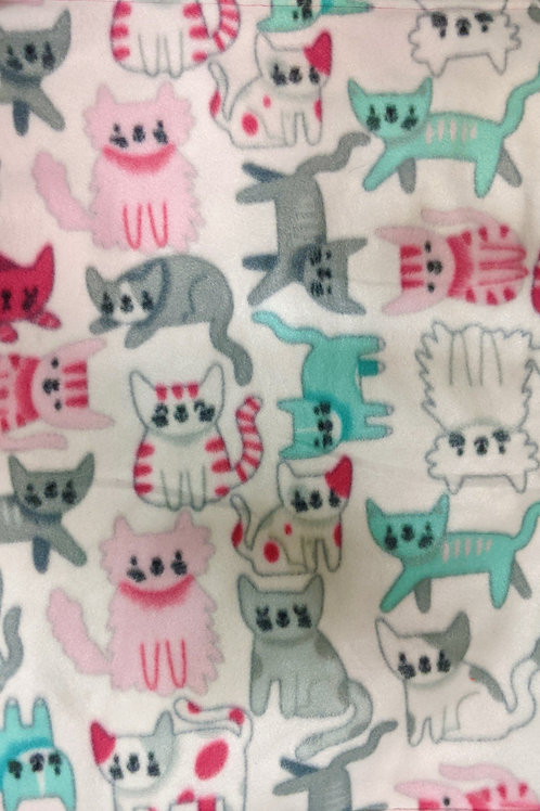 Teal, Grey, and Pink Cats, fleece on fleece