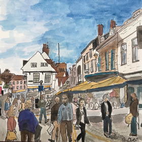St Albans Market Place, ink & watercolou