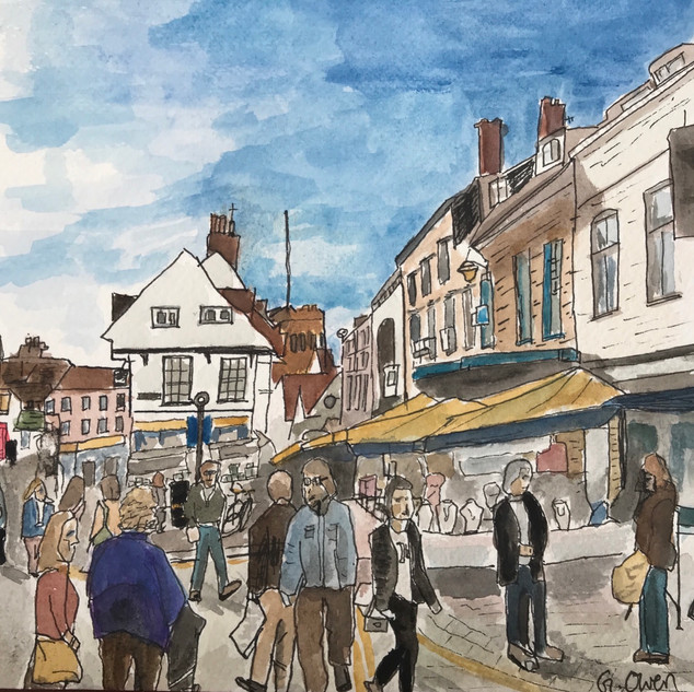 St Albans Market Place, ink & watercolou