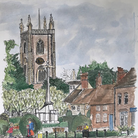 St Albans War Memorial, ink & watercolour, A4 prints £20