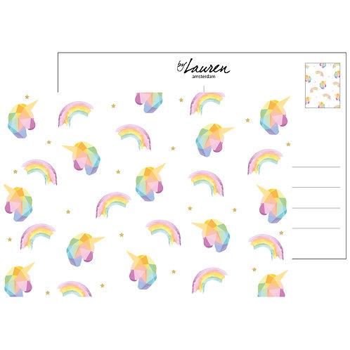 unicorn addict postcard