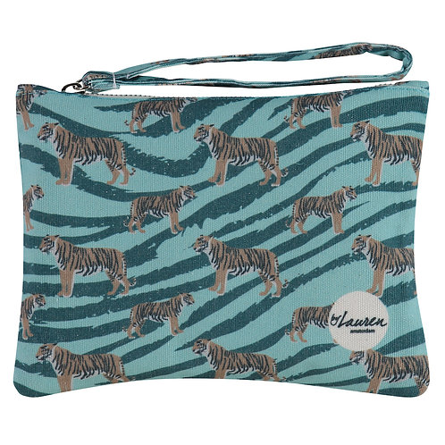 go get em tiger ocean green clutch