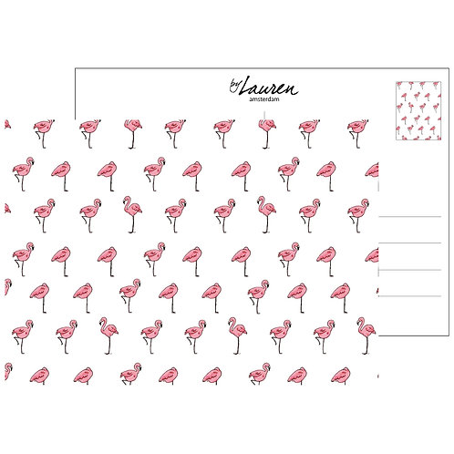 let's flamingo postcard