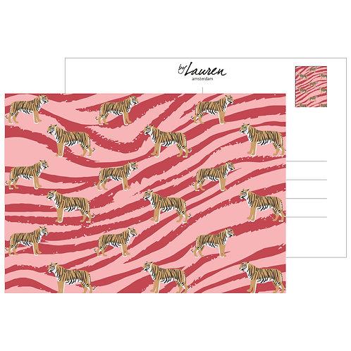 go get em tiger coral pink postcard