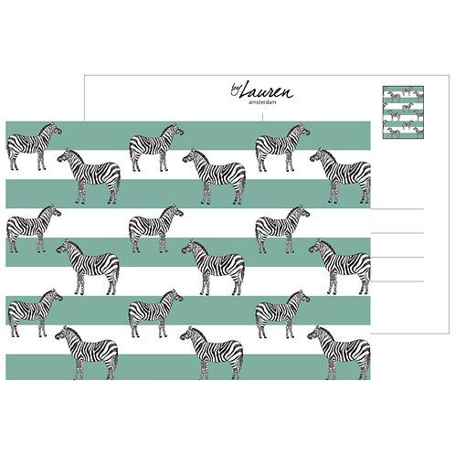 zebra & stripes deep mint postcard