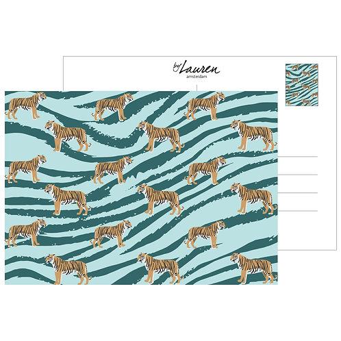 go get em tiger ocean green postcard