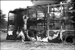 Belfast '82 burning bus Falls Rd