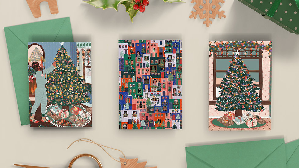 SETS of 3 - Christmas cards