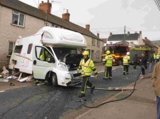 Camper van crash in Main Street