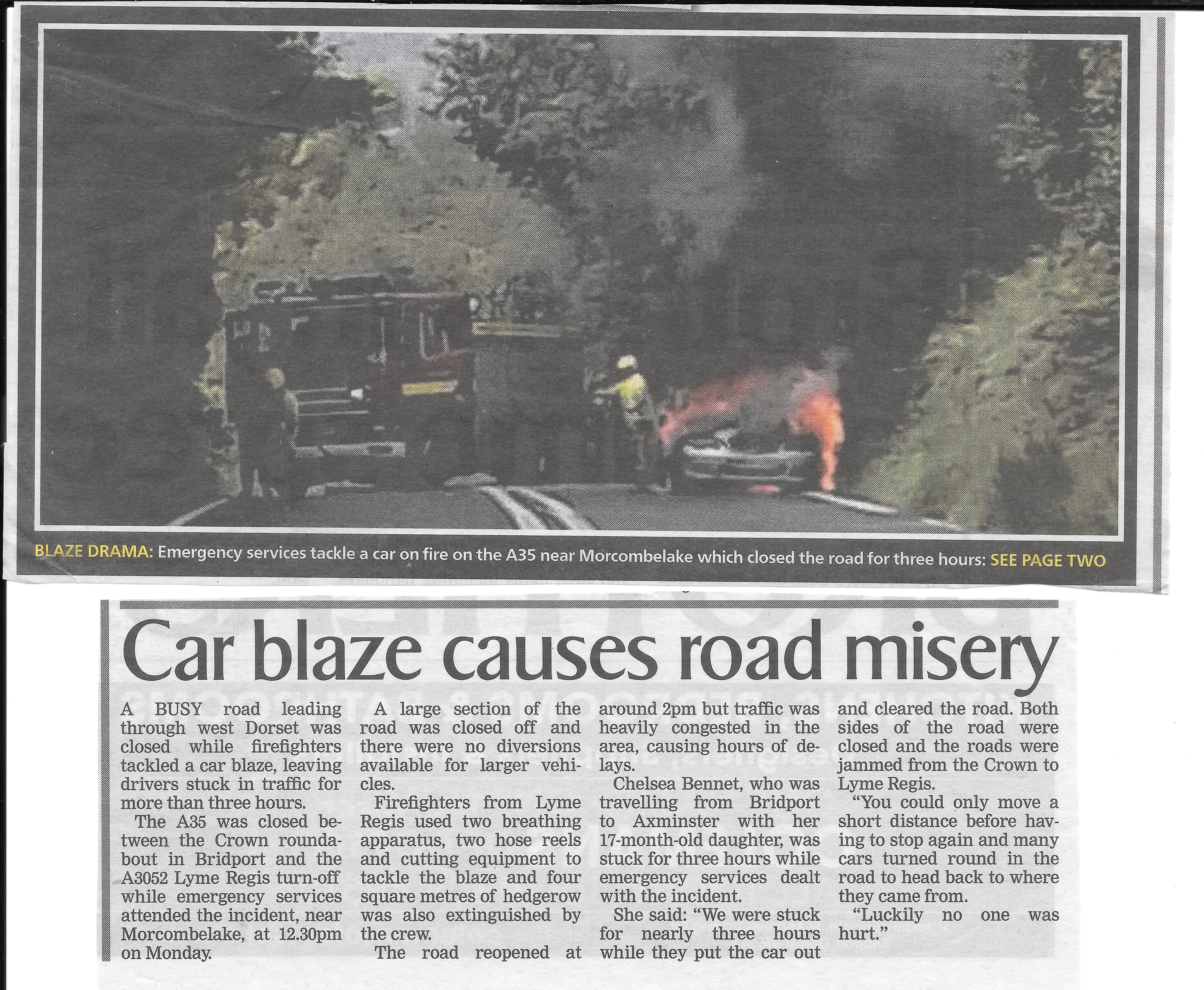 Car fire, Morcombelake