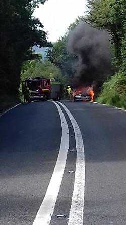 Car fire, Morcombelake
