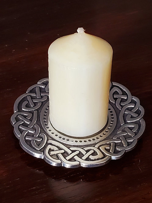Celtic knot candle holder with candle