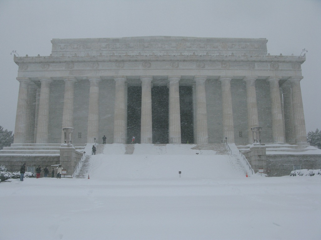 Lincoln Memorial in snow