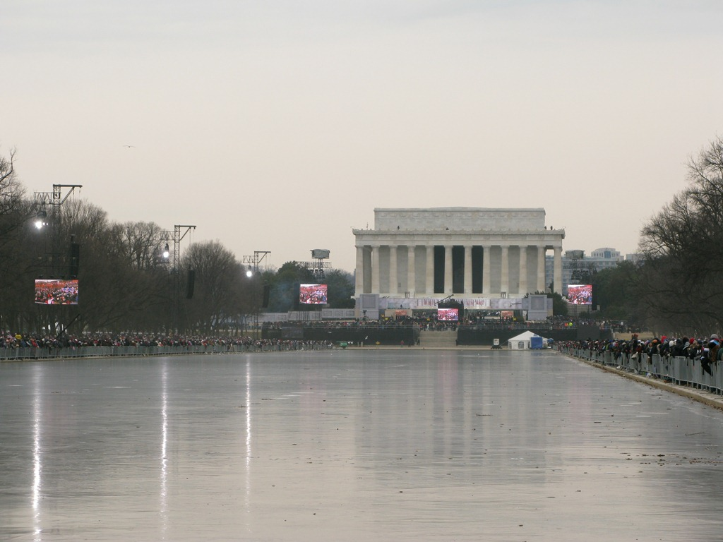 Frozen Reflection Pool during Obama Inauguration Concert