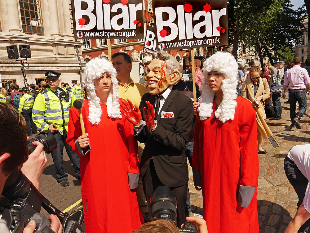 Stop the War protesters at the Chilcot inquiry