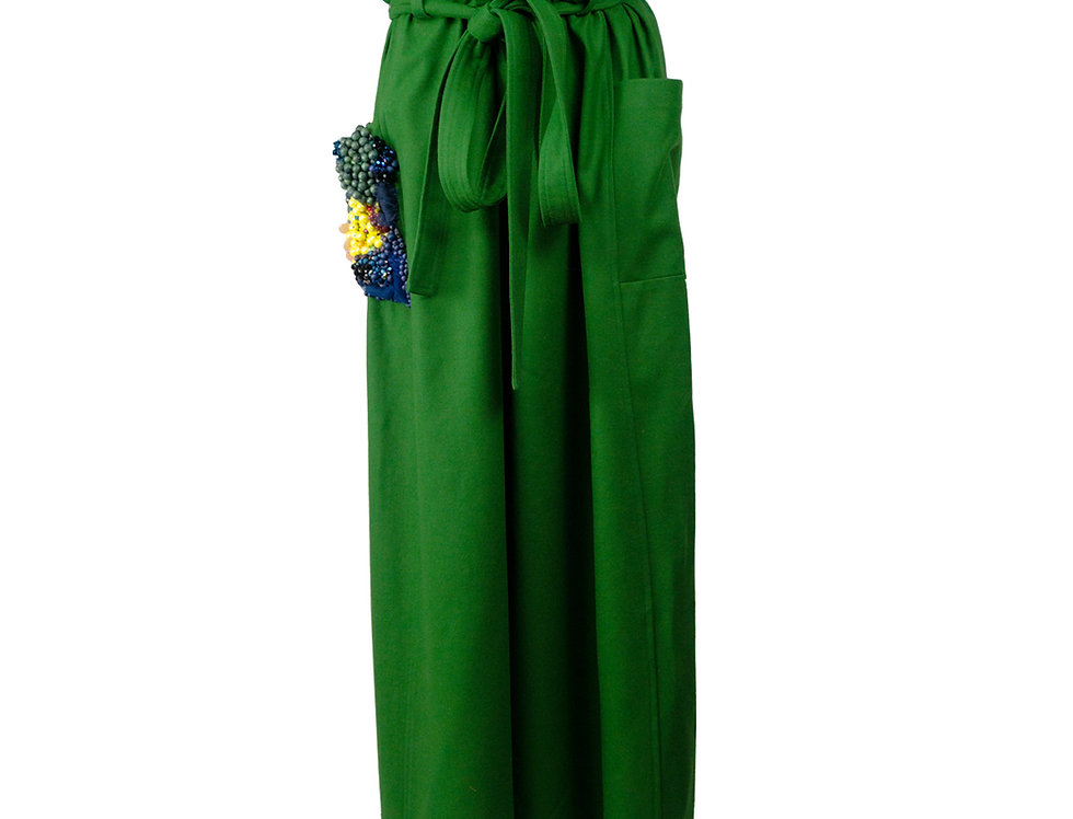 Slipover Pants with Embroidered Pocket