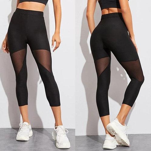 Black Mesh Leggings | Capri Fitness Leggings