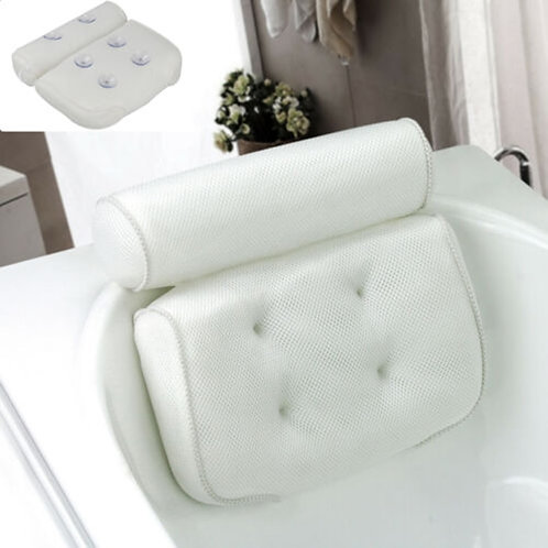 3D Mesh Bathtub Non-Slip Pillow With Suction Cups