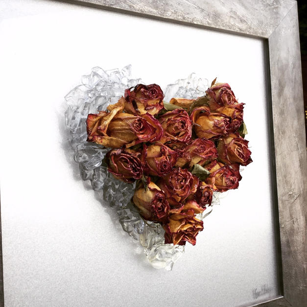Heart Beat with glass & roses