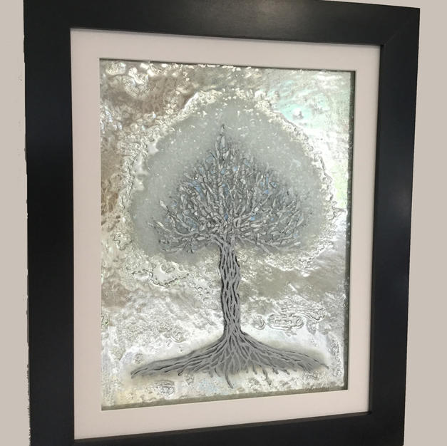Tree of Life in white & silver with mirror
