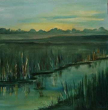 acryl op doek, 60x60 cm, titel Early Eve