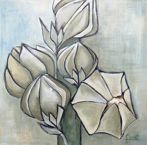 acryl op doek, 30x30 cm, titel Stokroos.
