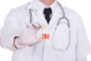 doctor's hand holding a bottle of bloody urine sample isolated on white background