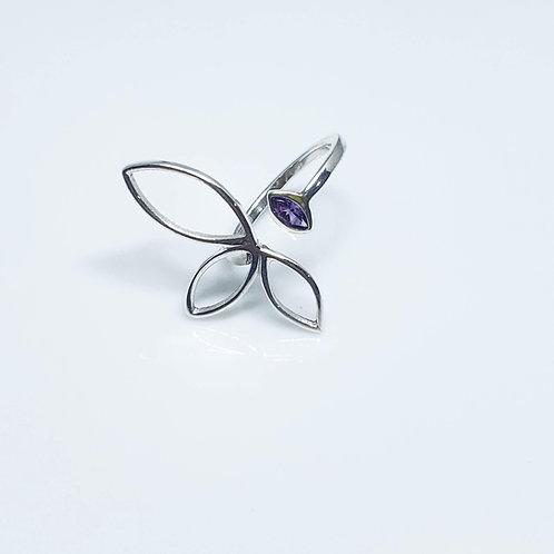 anel flor de lótus ametista