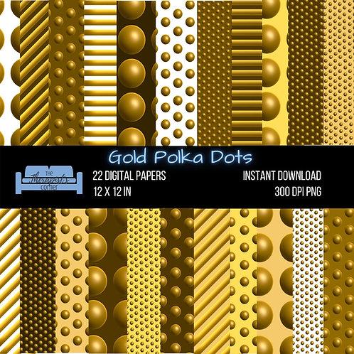 Gold Polka Dot Digital Paper