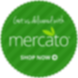 "A green seal-shaped graphic that says, ""Get us delivered with mercato. Shop Now."""