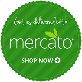 """A green seal-shaped graphic that says, """"Get us delivered with mercato. Shop Now."""""""