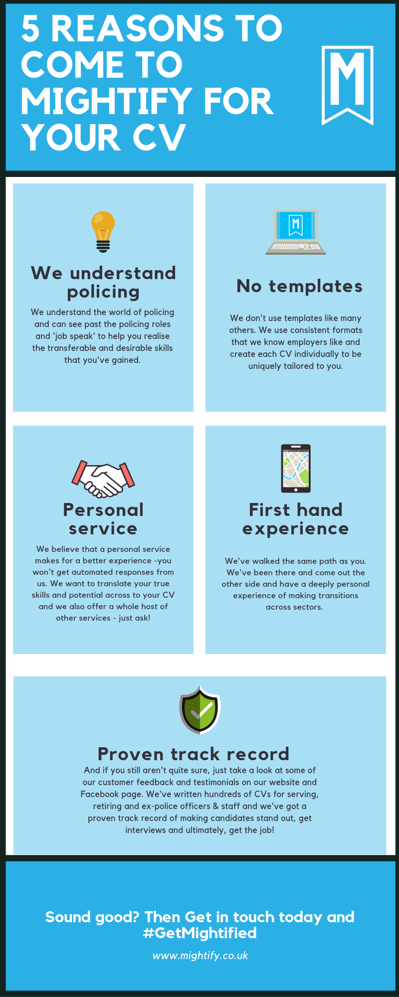 Infographic showing 5 reasons why you should come to Mightify for your CV