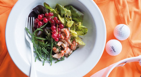 Salicornia Salat mit Flusskrebsen