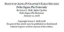 Sketch of ALPHA PI CHAPTER's EARLY DECAD