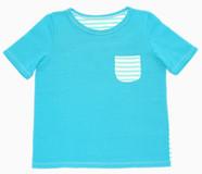 Kurzarm T- Shirt aus Baumwolljersey vorne mit Brusttasche